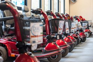 Line of Shopmobility scooters