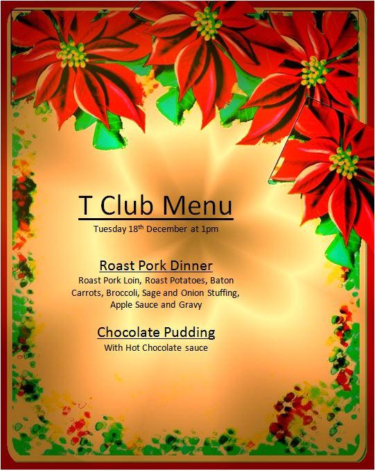 T-Club Christmas Dinner Menu