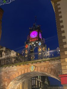 Eastgate Clock turned purple for Paint West Cheshire Purple 2019