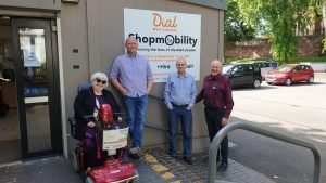 Picture (L– R): Trisha Bell (Dial West Cheshire Chair), Rich Harland (Dial Shopmobility Manager), Steven Moores (Dial Shopmobility Supervisor), Edward Trewhella (Chief Executive, Driving Mobility)